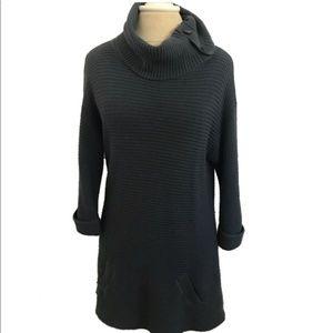 Ann Taylor Dress Blue Cowl Neck Knit Sweater Dress